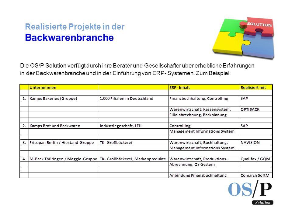 Realisierte Projekte in der Backwarenbranche Die OS/P Solution verfügt durch ihre Berater und Gesellschafter über erhebliche Erfahrungen in der Backwa