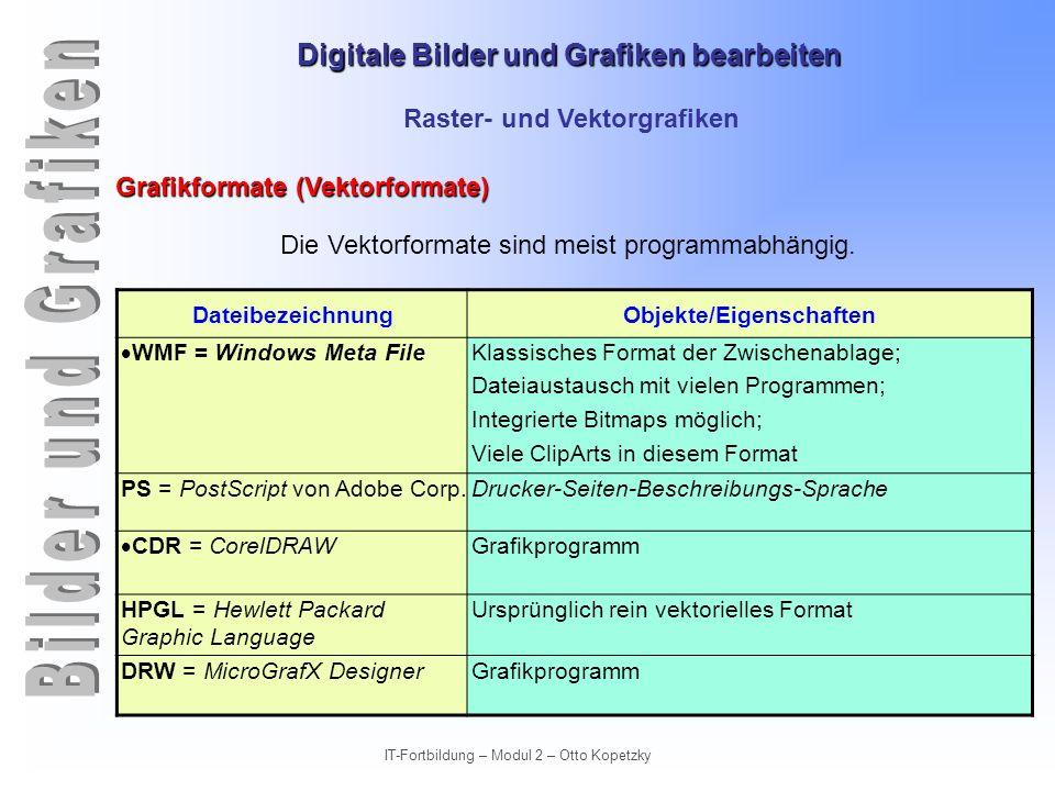Digitale Bilder und Grafiken bearbeiten IT-Fortbildung – Modul 2 – Otto Kopetzky Raster- und Vektorgrafiken Grafikformate (Vektorformate) Die Vektorfo