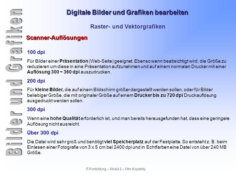 Digitale Bilder und Grafiken bearbeiten IT-Fortbildung – Modul 2 – Otto Kopetzky Raster- und Vektorgrafiken Scanner-Auflösungen 100 dpi Für Bilder ein