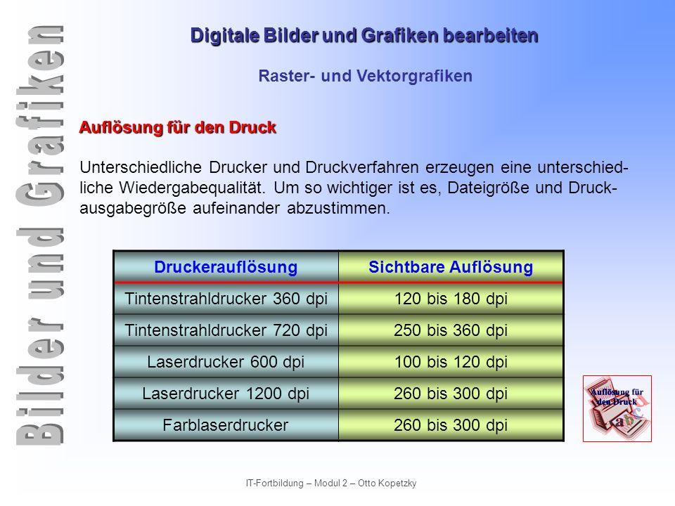 Digitale Bilder und Grafiken bearbeiten IT-Fortbildung – Modul 2 – Otto Kopetzky Raster- und Vektorgrafiken Auflösung für den Druck Unterschiedliche D