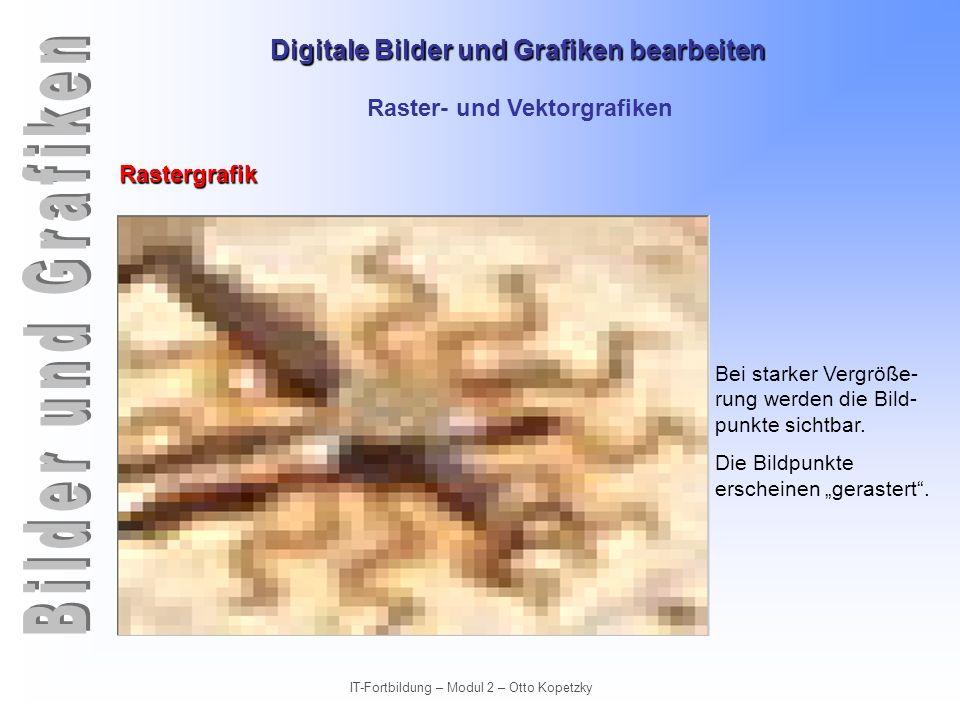 Digitale Bilder und Grafiken bearbeiten IT-Fortbildung – Modul 2 – Otto Kopetzky Raster- und Vektorgrafiken Vektorgrafiken Unterscheidungskriterien für die beiden Grafikformate.