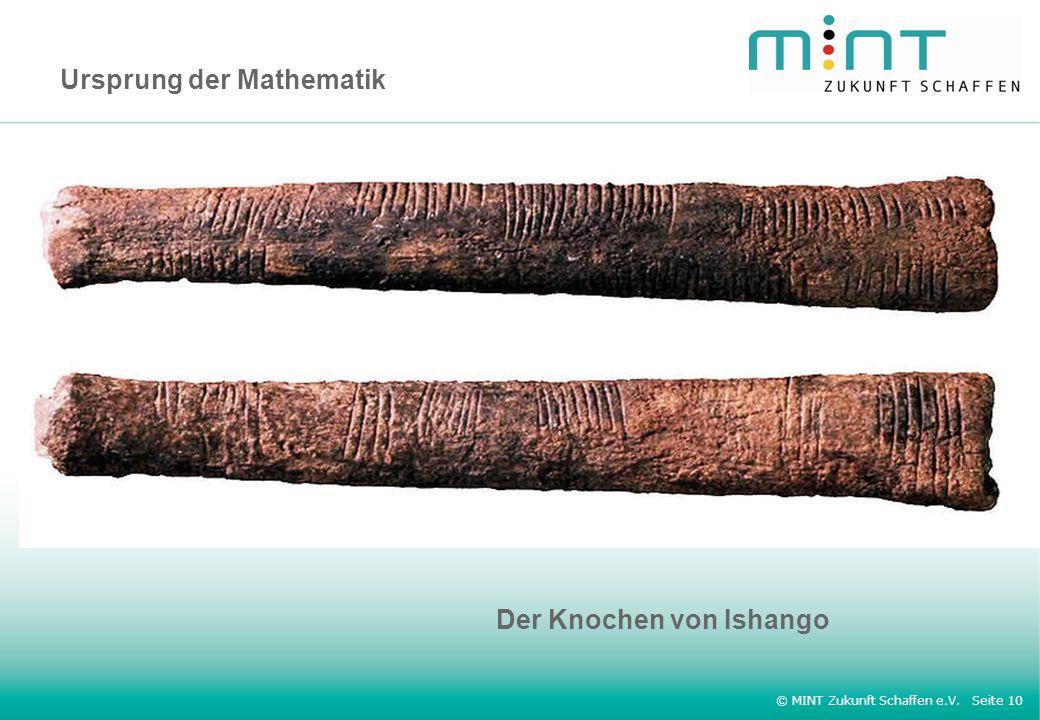 © MINT Zukunft Schaffen e.V. Seite 10 Ursprung der Mathematik Der Knochen von Ishango