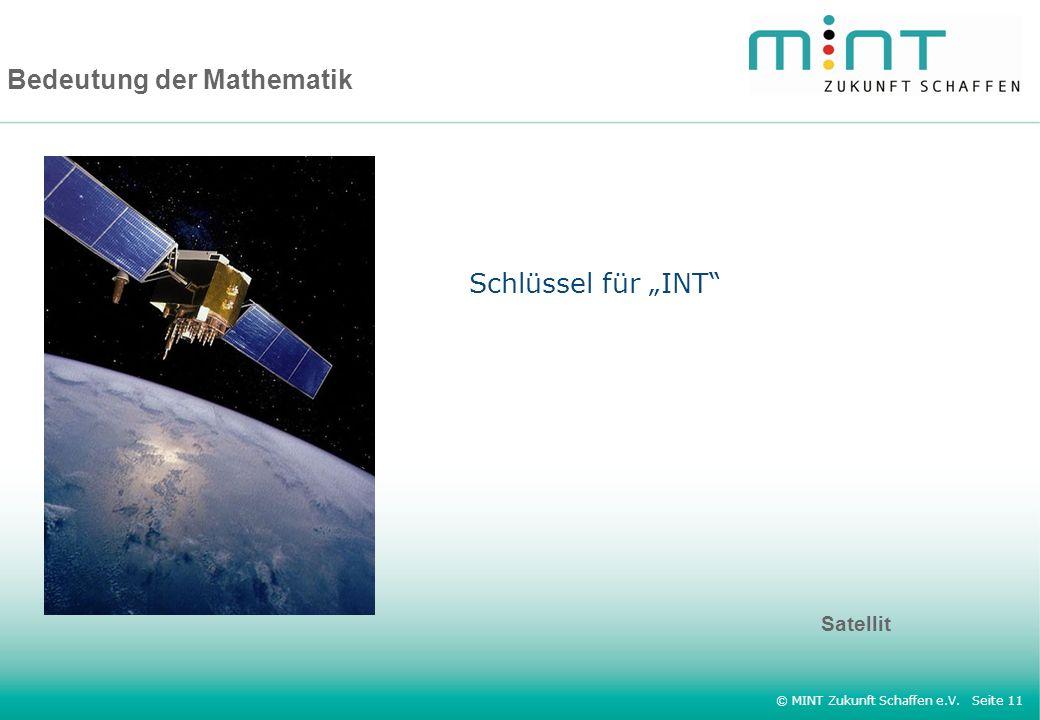 © MINT Zukunft Schaffen e.V. Seite 11 Bedeutung der Mathematik Satellit Schlüssel für INT