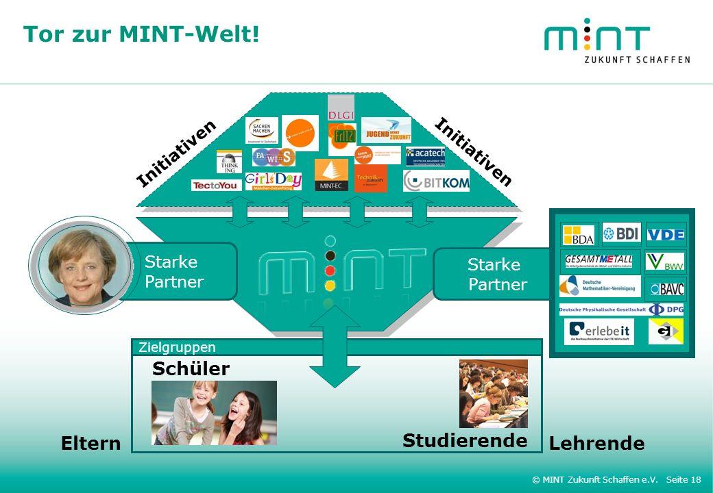 © MINT Zukunft Schaffen e.V. Seite 18 Tor zur MINT-Welt! Starke Partner Starke Partner Schüler Studierende Zielgruppen ElternLehrende Initiativen