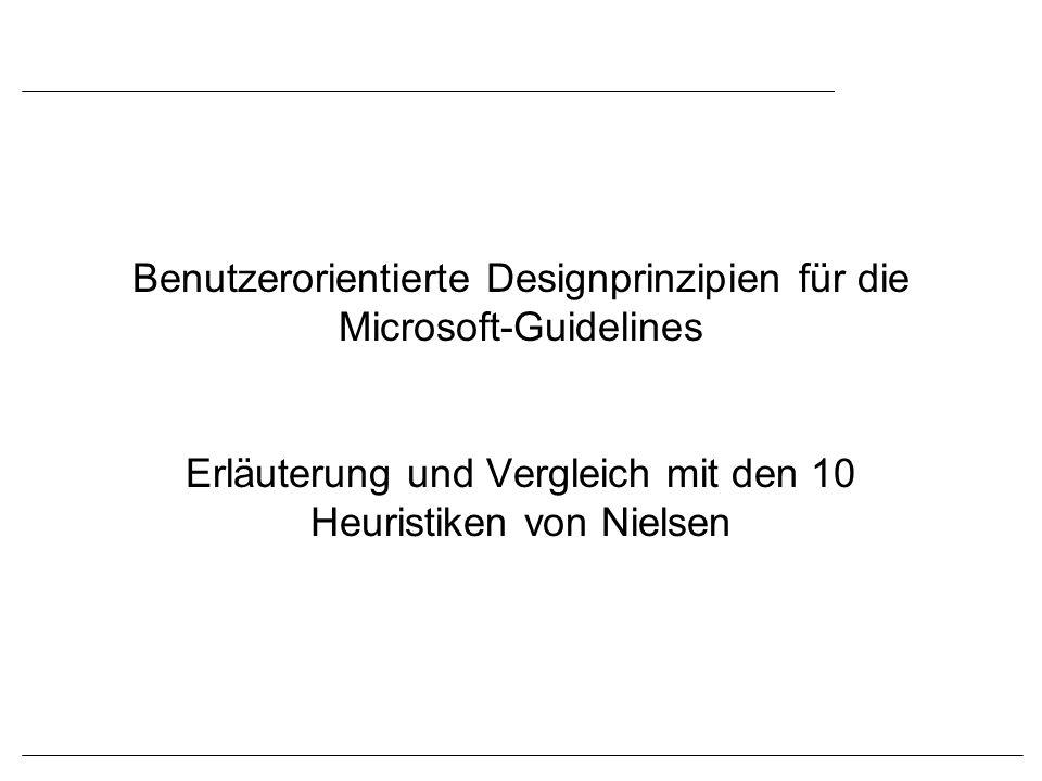 Benutzerorientierte Designprinzipien für die Microsoft-Guidelines Erläuterung und Vergleich mit den 10 Heuristiken von Nielsen