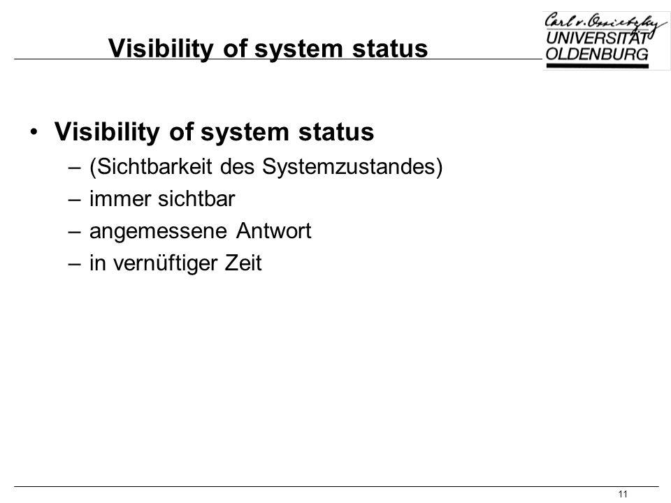 11 Visibility of system status –(Sichtbarkeit des Systemzustandes) –immer sichtbar –angemessene Antwort –in vernüftiger Zeit
