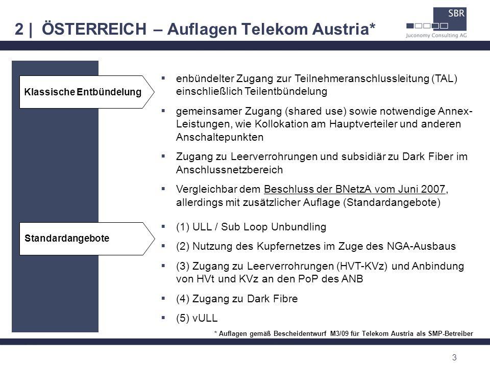 2 | ÖSTERREICH – Auflagen Telekom Austria* 3 enbündelter Zugang zur Teilnehmeranschlussleitung (TAL) einschließlich Teilentbündelung gemeinsamer Zugan
