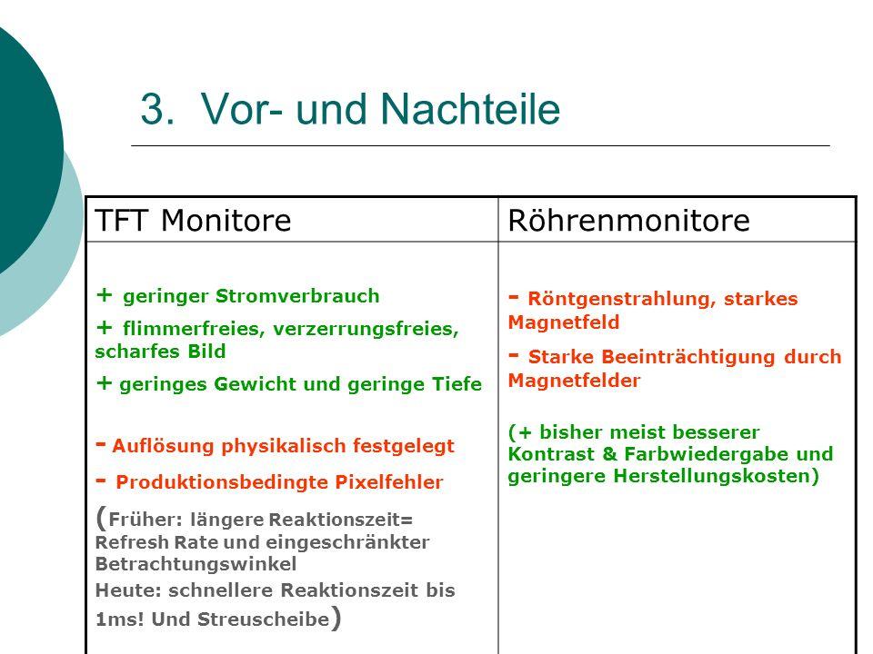 3. Vor- und Nachteile TFT MonitoreRöhrenmonitore + geringer Stromverbrauch + flimmerfreies, verzerrungsfreies, scharfes Bild + geringes Gewicht und ge