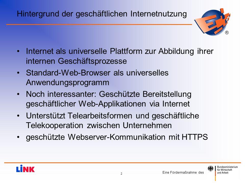 ® 2 Hintergrund der geschäftlichen Internetnutzung Internet als universelle Plattform zur Abbildung ihrer internen Geschäftsprozesse Standard-Web-Brow