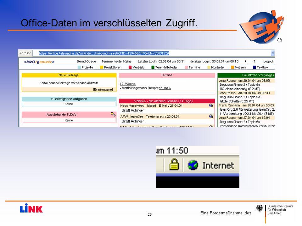 Eine Fördermaßnahme des ® 26 Office-Daten im verschlüsselten Zugriff.