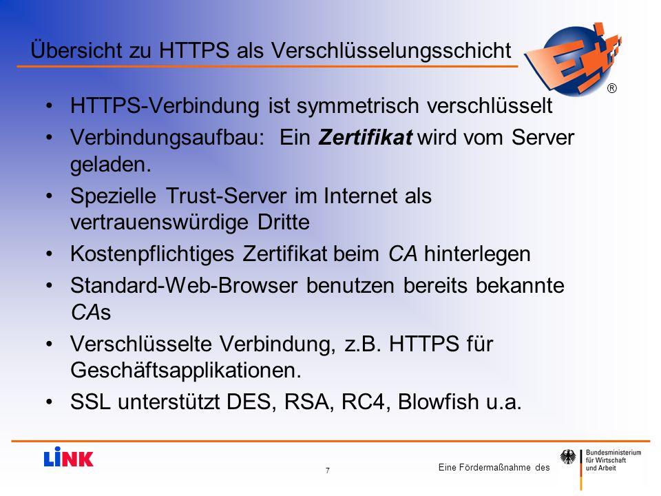 Eine Fördermaßnahme des ® 8 Details zu HTTPS / SSL – Der Ablauf HTTP-Client stellt Verbindungsanfrage an HTTP-Server HTTP-Server sendet digital signiertes Zertifikat an Client Client prüft das Vertrauen des Server-Zertifikats und ob Zertifikatdaten formal mit Zusatzinformationen des Servers übereinstimmen Client verhandelt mit dem Server, welche Verschlüsselungsprotokolle (- methoden / Schlüsselarten) beide Seiten kennen Der HTTP-Server teilt Client den best möglichen Algorithmus mit Der Client nutzt diesen Verschlüsselungsalgorithmus und erzeugt einen HTTPS- Sitzungschlüssel.