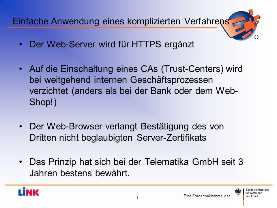 Eine Fördermaßnahme des ® 9 Einfache Anwendung eines komplizierten Verfahrens Der Web-Server wird für HTTPS ergänzt Auf die Einschaltung eines CAs (Tr