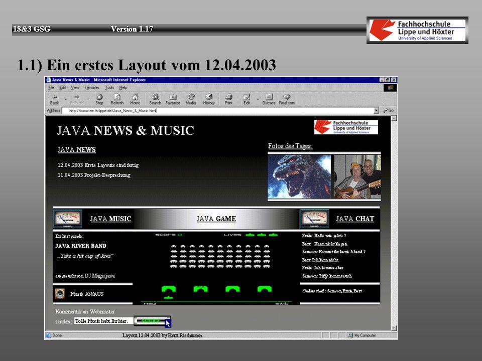 18&3 GSG Version 1.17 1.1) Ein erstes Layout vom 12.04.2003