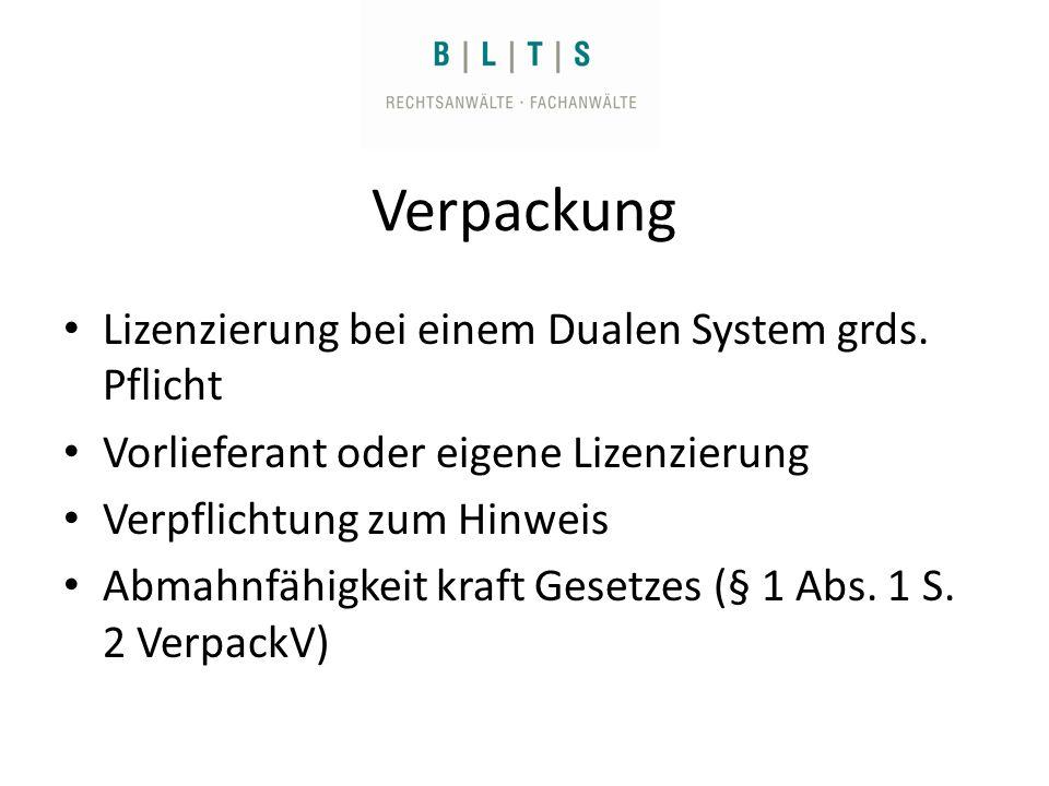 Verpackung Lizenzierung bei einem Dualen System grds.