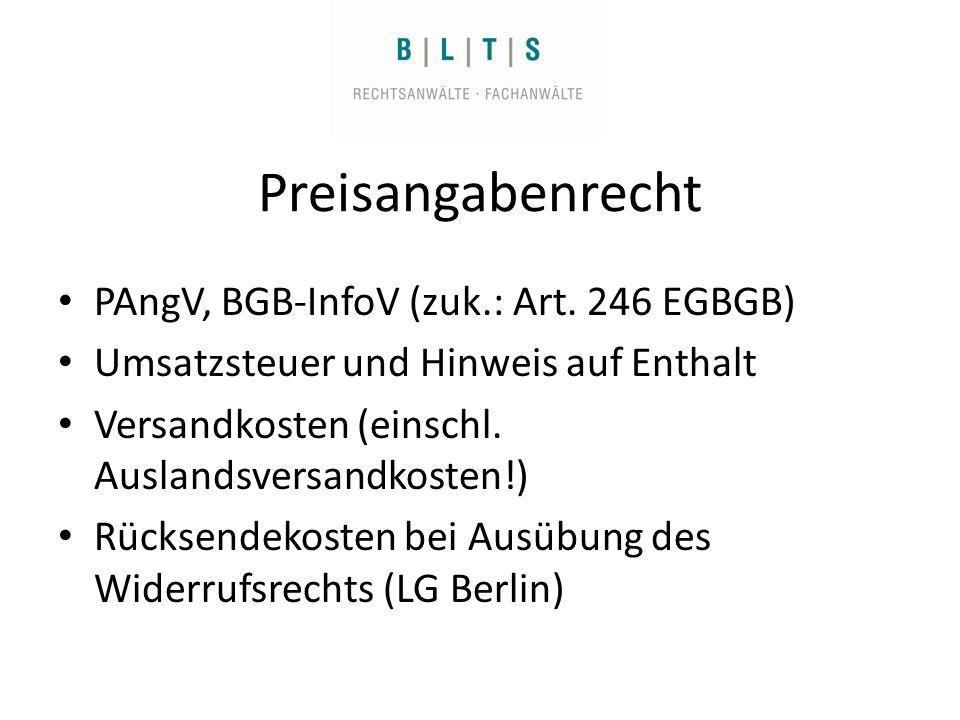 Preisangabenrecht PAngV, BGB-InfoV (zuk.: Art.