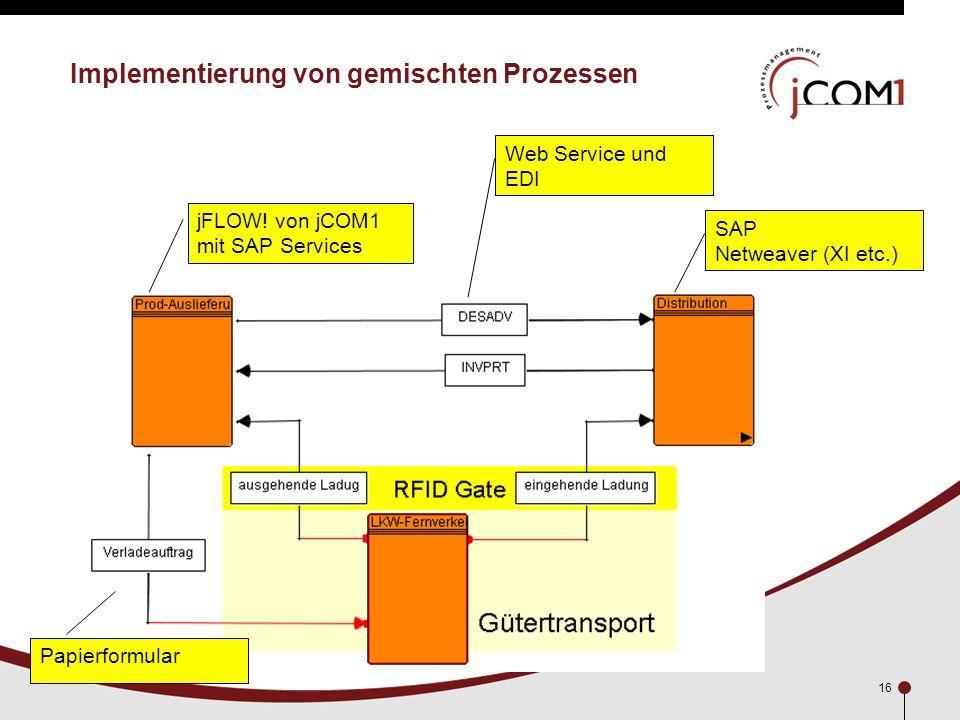 16 Implementierung von gemischten Prozessen jFLOW! von jCOM1 mit SAP Services SAP Netweaver (XI etc.) Web Service und EDI Papierformular