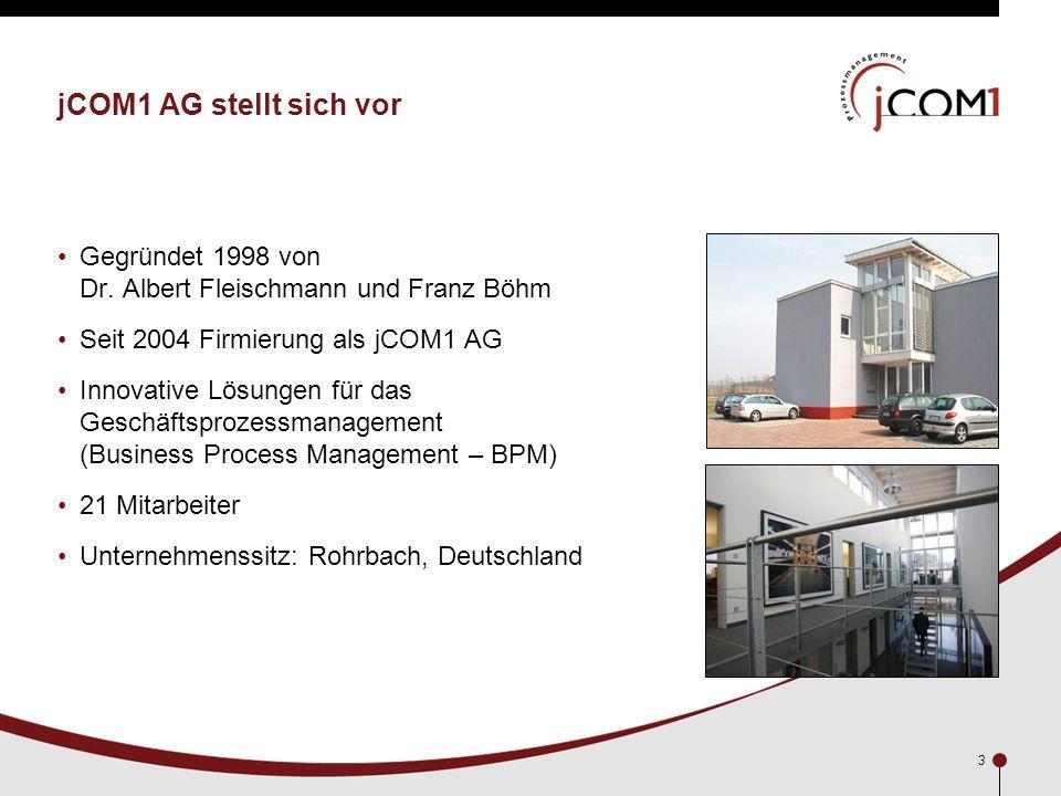 3 jCOM1 AG stellt sich vor Gegründet 1998 von Dr. Albert Fleischmann und Franz Böhm Seit 2004 Firmierung als jCOM1 AG Innovative Lösungen für das Gesc