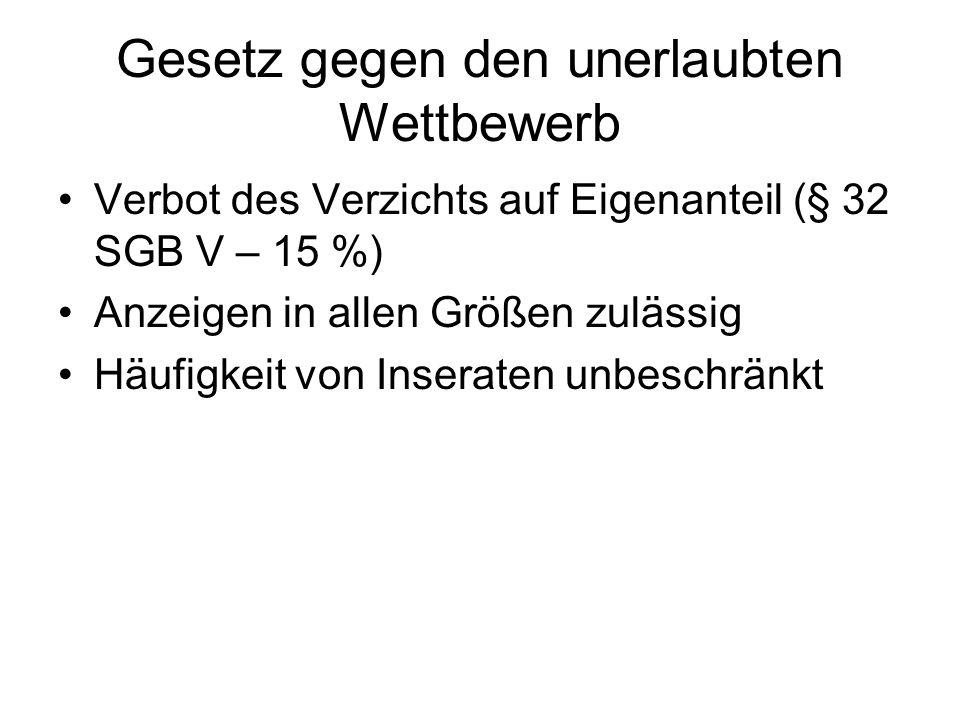 Gesetz gegen den unerlaubten Wettbewerb Verbot des Verzichts auf Eigenanteil (§ 32 SGB V – 15 %) Anzeigen in allen Größen zulässig Häufigkeit von Inse