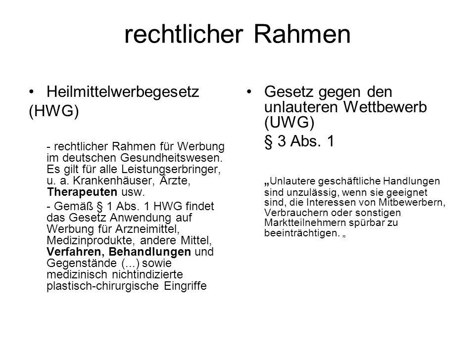 rechtlicher Rahmen Heilmittelwerbegesetz (HWG) - rechtlicher Rahmen für Werbung im deutschen Gesundheitswesen. Es gilt für alle Leistungserbringer, u.