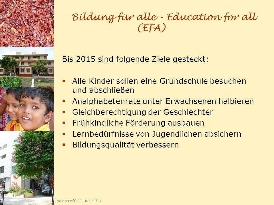 Bildung für alle - Education for all (EFA) Bis 2015 sind folgende Ziele gesteckt: Alle Kinder sollen eine Grundschule besuchen und abschließen Analpha