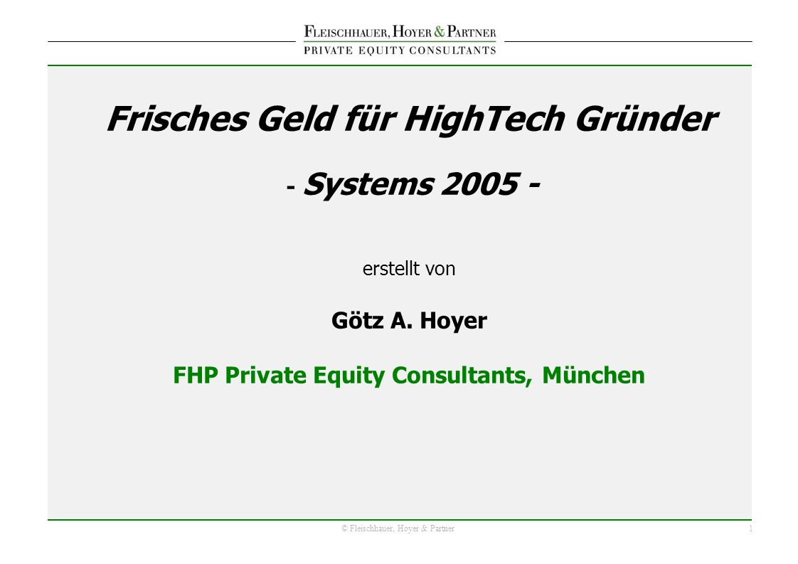 2 © Fleischhauer, Hoyer & Partner Quelle: BVK; FHP Private Equity Consultants Analyse Seed-Kapital (Mio.