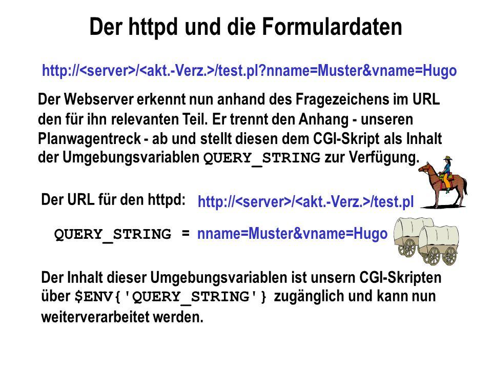 Der httpd und die Formulardaten Der Webserver erkennt nun anhand des Fragezeichens im URL den für ihn relevanten Teil. Er trennt den Anhang - unseren