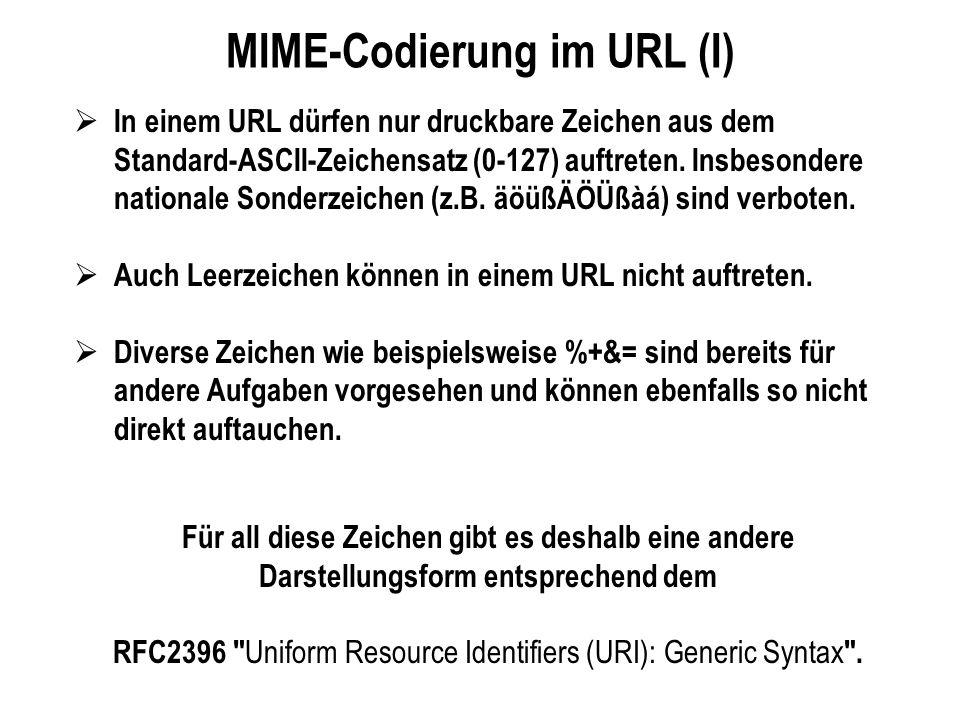 MIME-Codierung im URL (I) In einem URL dürfen nur druckbare Zeichen aus dem Standard-ASCII-Zeichensatz (0-127) auftreten. Insbesondere nationale Sonde