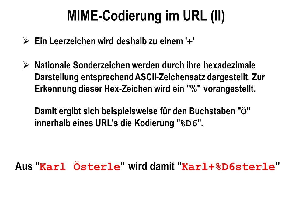 MIME-Codierung im URL (II) Ein Leerzeichen wird deshalb zu einem ' + ' Nationale Sonderzeichen werden durch ihre hexadezimale Darstellung entsprechend