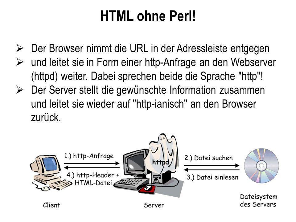 HTML ohne Perl! Der Browser nimmt die URL in der Adressleiste entgegen und leitet sie in Form einer http-Anfrage an den Webserver (httpd) weiter. Dabe