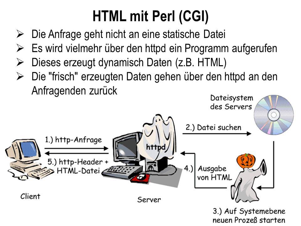 HTML mit Perl (CGI) Die Anfrage geht nicht an eine statische Datei Es wird vielmehr über den httpd ein Programm aufgerufen Dieses erzeugt dynamisch Da