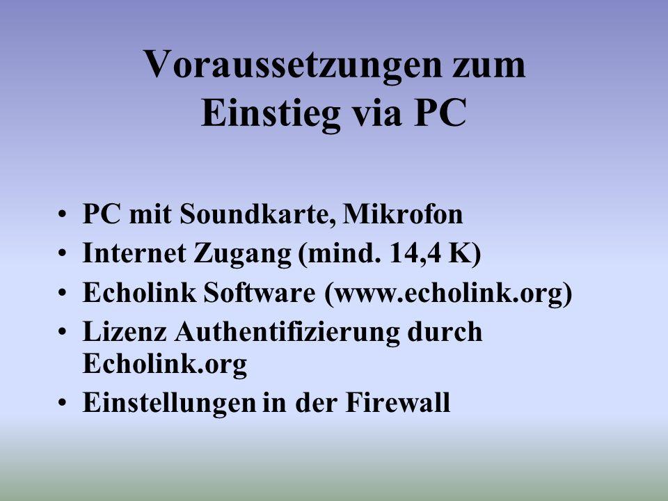 Einstieg via PC (über Internet) Screenshot Benutzeroberfläche der Echolink Software click Infotext Nummer