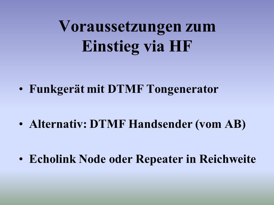 Einstieg via PC Deutsche Dokumentation der Echolink Software unter http://www.satszene.ch/hb9rwa Originale Dokumentation (Englisch) unter http://www.e