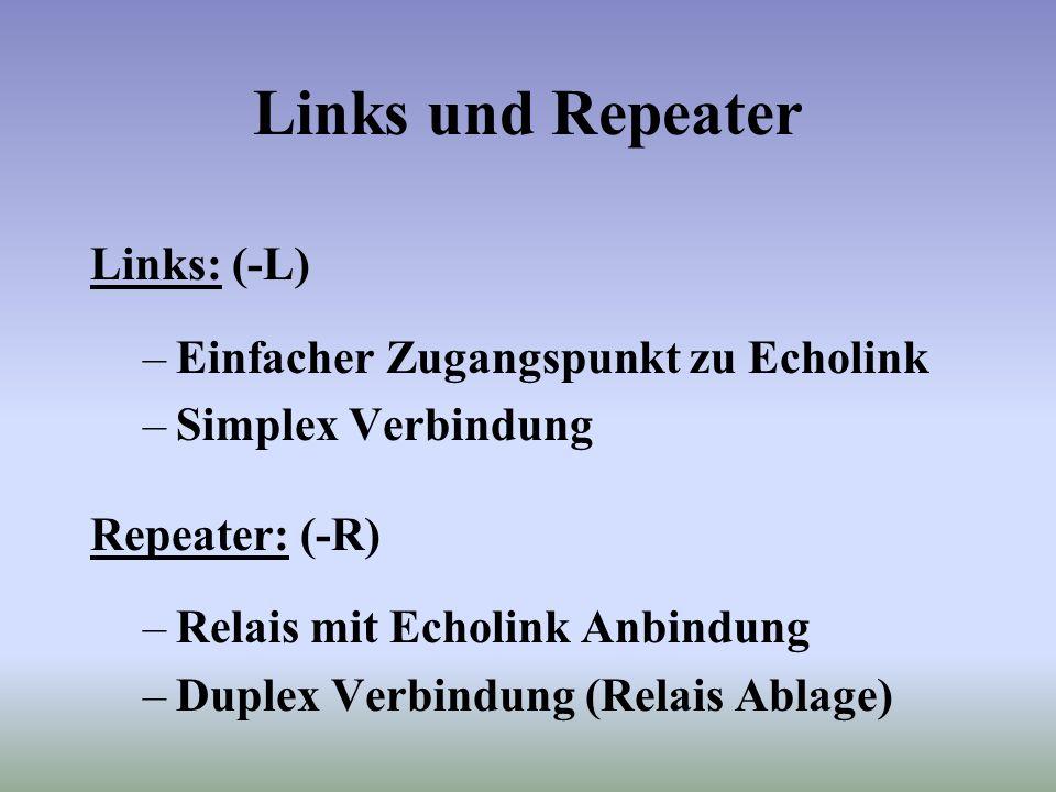 Links und Repeater Links: (-L) –Einfacher Zugangspunkt zu Echolink –Simplex Verbindung Repeater: (-R) –Relais mit Echolink Anbindung –Duplex Verbindung (Relais Ablage)