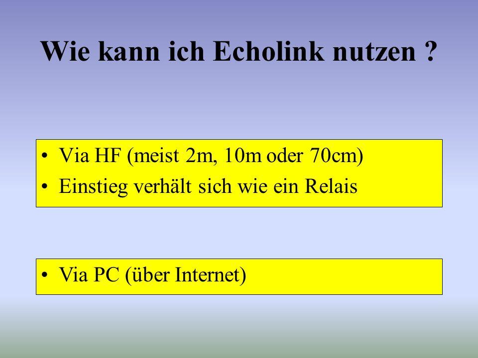 Links und Repeater Links: (-L) –Einfacher Zugangspunkt zu Echolink –Simplex Verbindung Repeater: (-R) –Relais mit Echolink Anbindung –Duplex Verbindun