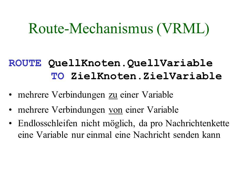 Route-Mechanismus (VRML) ROUTE QuellKnoten.QuellVariable TO ZielKnoten.ZielVariable mehrere Verbindungen zu einer Variable mehrere Verbindungen von ei