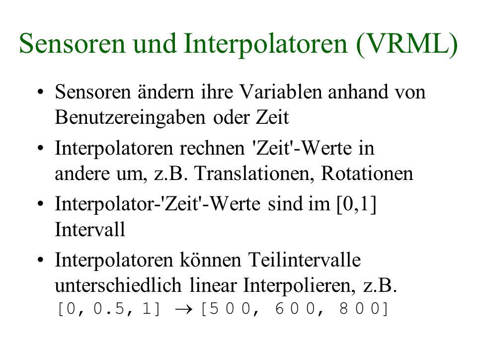 Sensoren und Interpolatoren (VRML) Sensoren ändern ihre Variablen anhand von Benutzereingaben oder Zeit Interpolatoren rechnen 'Zeit'-Werte in andere