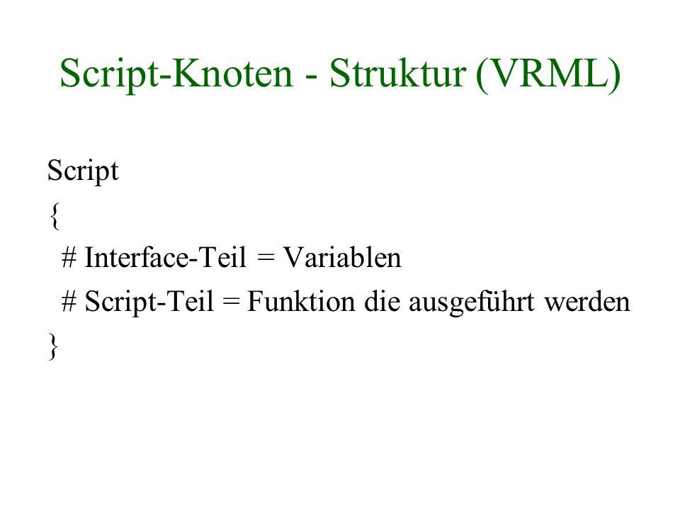 Script-Knoten - Struktur (VRML) Script { # Interface-Teil = Variablen # Script-Teil = Funktion die ausgeführt werden }
