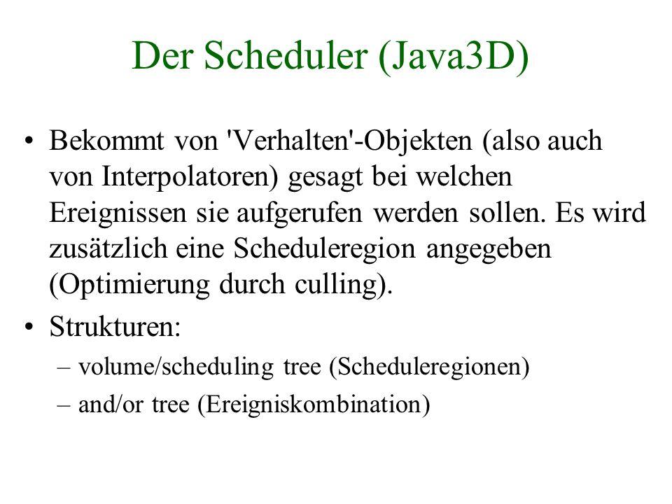 Der Scheduler (Java3D) Bekommt von 'Verhalten'-Objekten (also auch von Interpolatoren) gesagt bei welchen Ereignissen sie aufgerufen werden sollen. Es