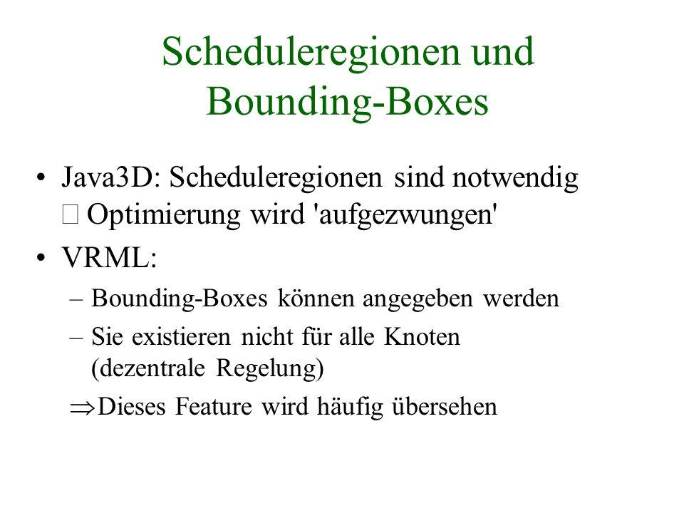 Scheduleregionen und Bounding-Boxes Java3D: Scheduleregionen sind notwendig Optimierung wird 'aufgezwungen' VRML: –Bounding-Boxes können angegeben wer