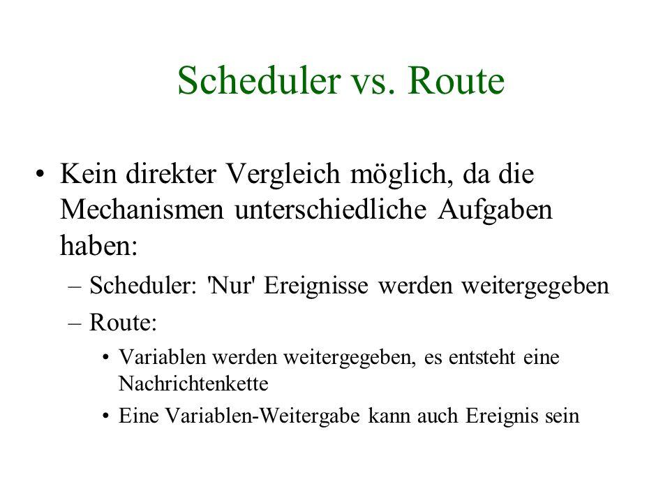 Scheduler vs. Route Kein direkter Vergleich möglich, da die Mechanismen unterschiedliche Aufgaben haben: –Scheduler: 'Nur' Ereignisse werden weitergeg