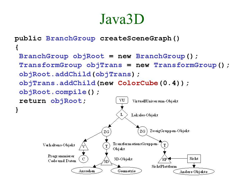 VRML-Browser in Java3D Es zeigt sich, daß einer Realisierung nichts im Wege steht und daß die Programmier- ung einfacher in Java3D ist als (direkt) in OpenGL.