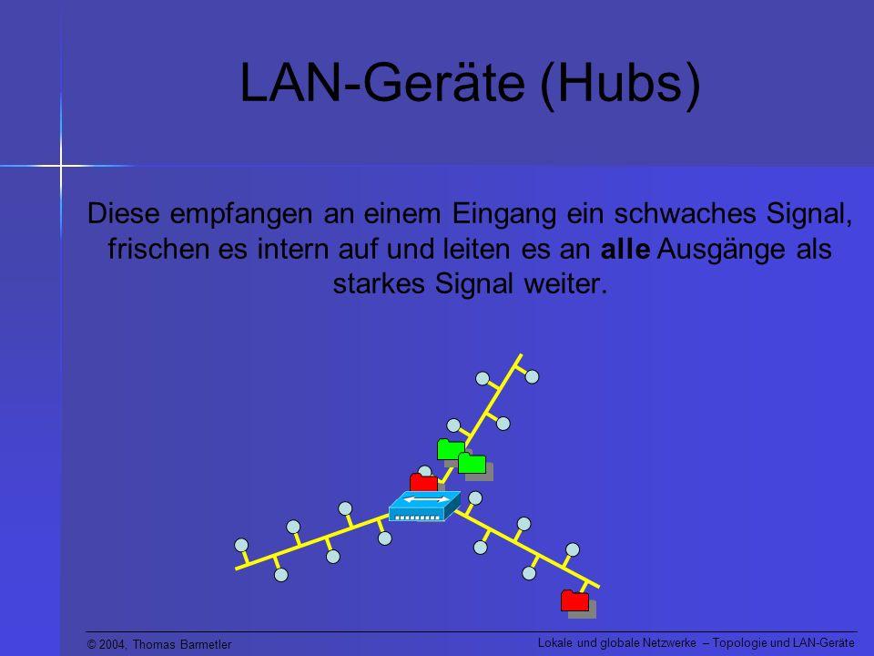 © 2004, Thomas Barmetler Lokale und globale Netzwerke – Topologie und LAN-Geräte LAN-Geräte (Hubs) Diese empfangen an einem Eingang ein schwaches Sign