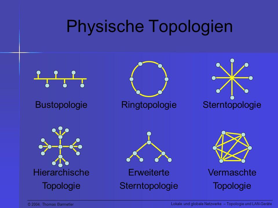 © 2004, Thomas Barmetler Lokale und globale Netzwerke – Topologie und LAN-Geräte Physische Topologien Die meisten Netze werden heute mit einer Sterntopologie aufgebaut.