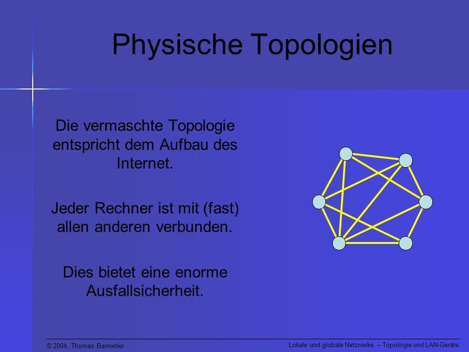 © 2004, Thomas Barmetler Lokale und globale Netzwerke – Topologie und LAN-Geräte LAN-Geräte (Router) Kommt ein Datenpaket am Router an, so leitet er es nur an den Ausgang weiter, über welchen der Zielrechner auf dem kürzesten Weg erreichbar ist.