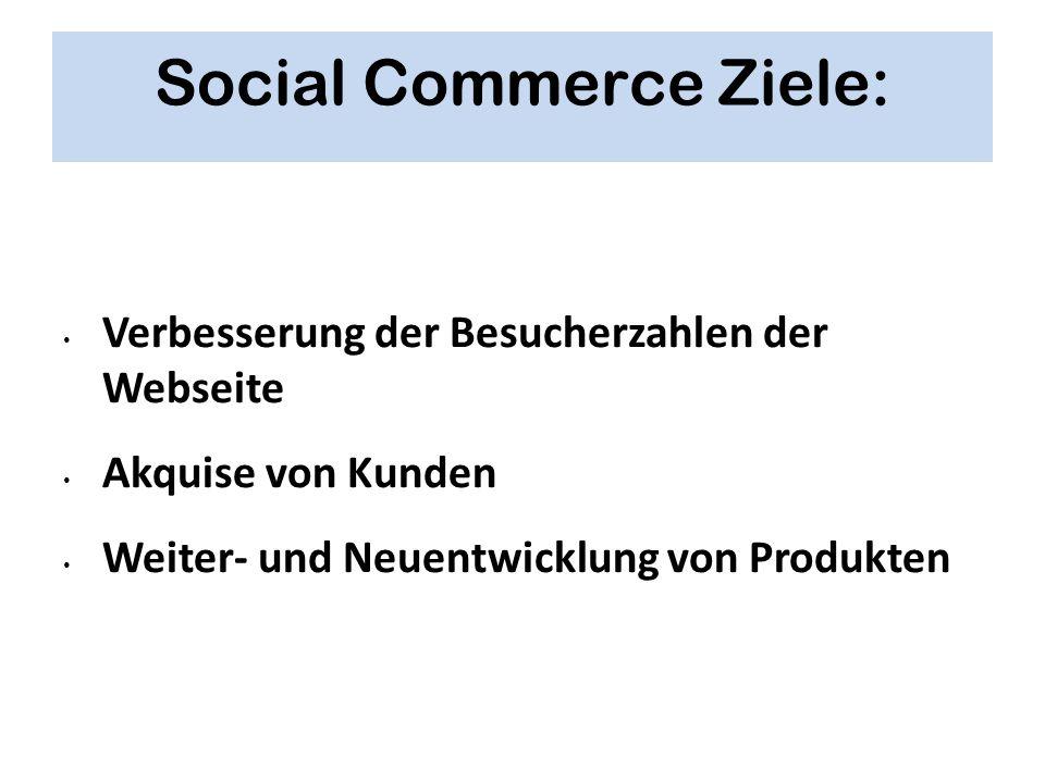 Social Commerce Ziele: Verbesserung der Besucherzahlen der Webseite Akquise von Kunden Weiter- und Neuentwicklung von Produkten