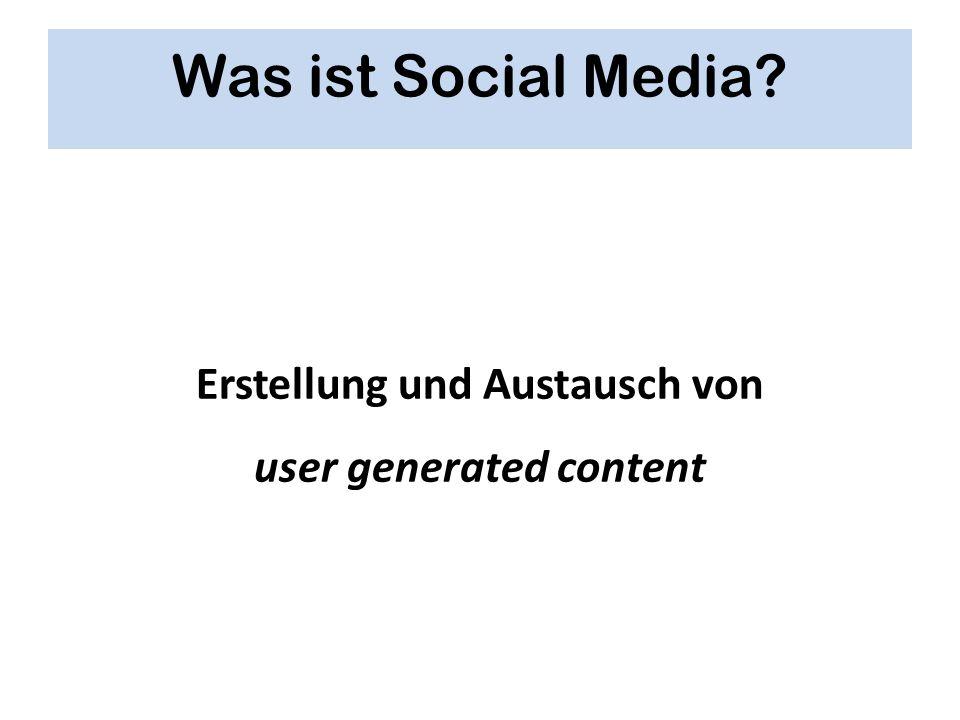 Was ist Social Media? Erstellung und Austausch von user generated content