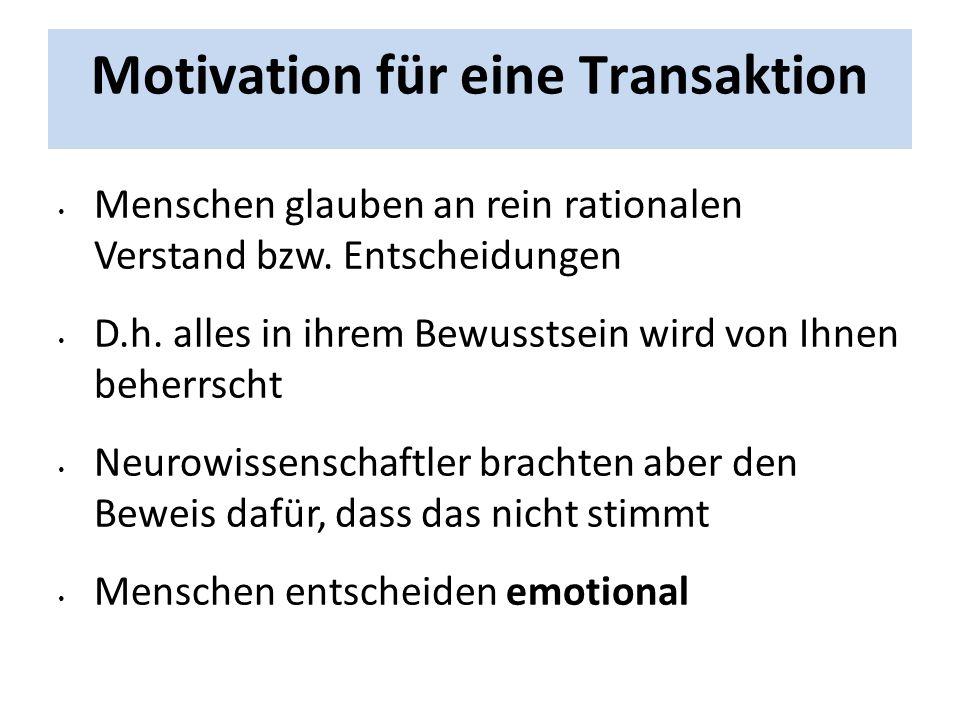 Motivation für eine Transaktion Menschen glauben an rein rationalen Verstand bzw. Entscheidungen D.h. alles in ihrem Bewusstsein wird von Ihnen beherr