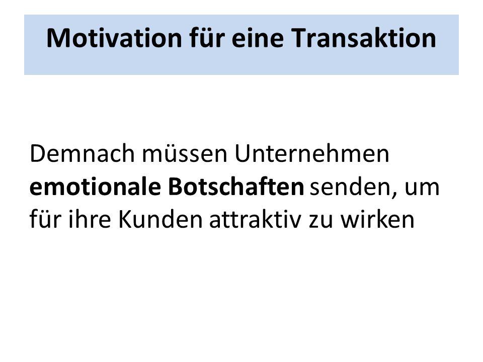 Motivation für eine Transaktion Demnach müssen Unternehmen emotionale Botschaften senden, um für ihre Kunden attraktiv zu wirken