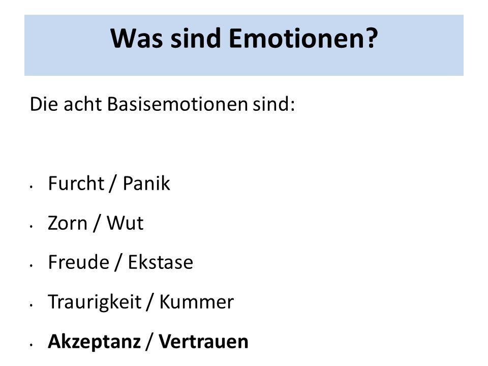 Was sind Emotionen? Die acht Basisemotionen sind: Furcht / Panik Zorn / Wut Freude / Ekstase Traurigkeit / Kummer Akzeptanz / Vertrauen Ekel / Abscheu
