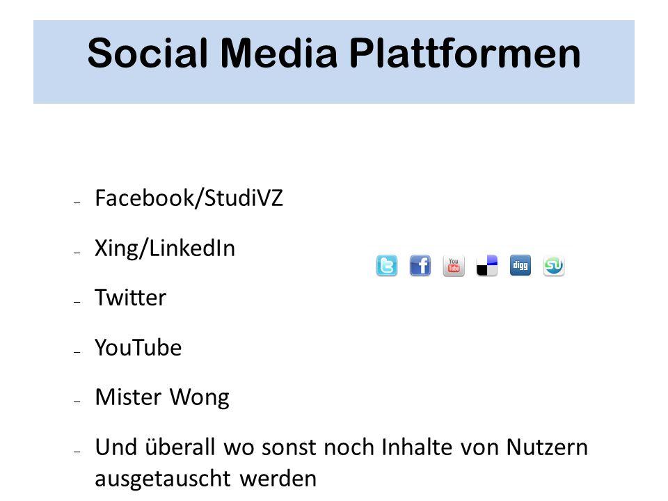 Social Media Plattformen – Facebook/StudiVZ – Xing/LinkedIn – Twitter – YouTube – Mister Wong – Und überall wo sonst noch Inhalte von Nutzern ausgetau